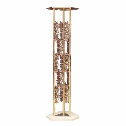 Column for tabernacle in brass, marmor base s1