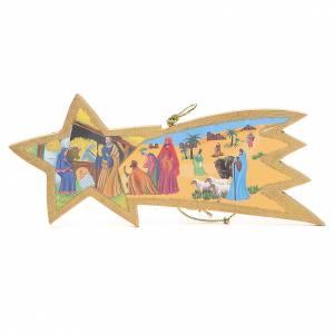 Comète dorée avec corde 9x20cm s1