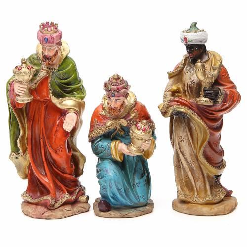 Complete nativity set in multicoloured resin, 11 figurines 20cm s4