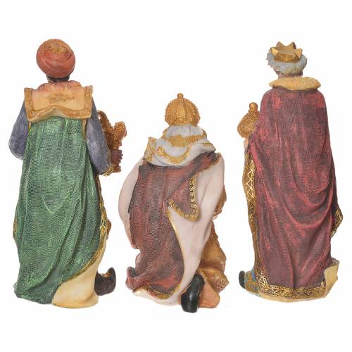 Complete nativity set in multicoloured resin, 11 figurines 27cm s7