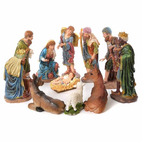 Complete nativity set in resin, 11 figurines 53cm s1