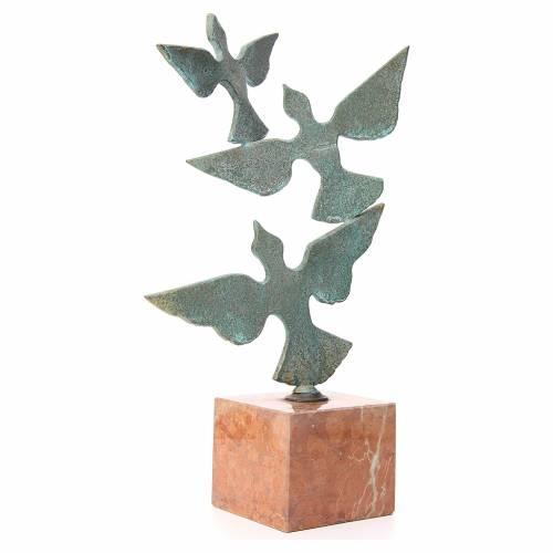 Composition colombes base marbre 55cm s3