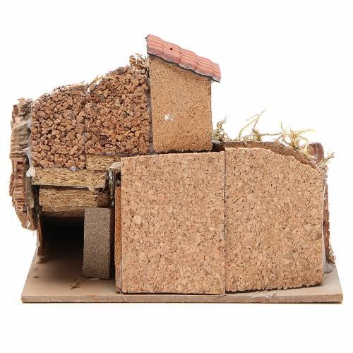 Composition maisons liège bois crèche Naples 20x23x20 cm s4