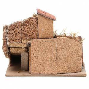 Composizione case sughero legno presepe Napoli 20x23x20 cm s4