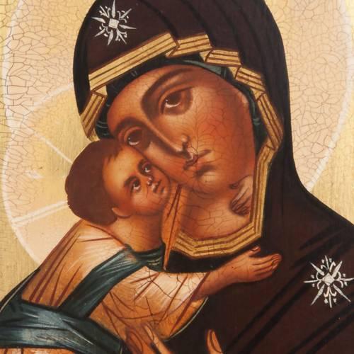 Ícono ruso Virgen de Vladimir 21x17 borde marrón s2