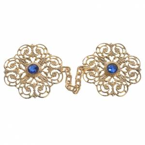 Cope clasp, golden with blue stones s1
