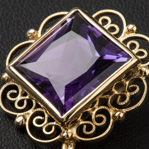 Cope Clasp in golden silver 800 filigree with Amethyst s4