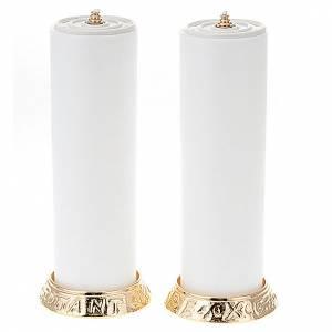 Candelieri metallo: Coppia candelieri metallo dorato base h2.2