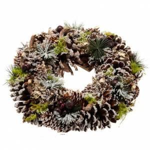 Corona navideña piñas y nieve adorno de navidad s1