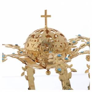 Coroncina Madonna ottone dorato - strass azzurri s3