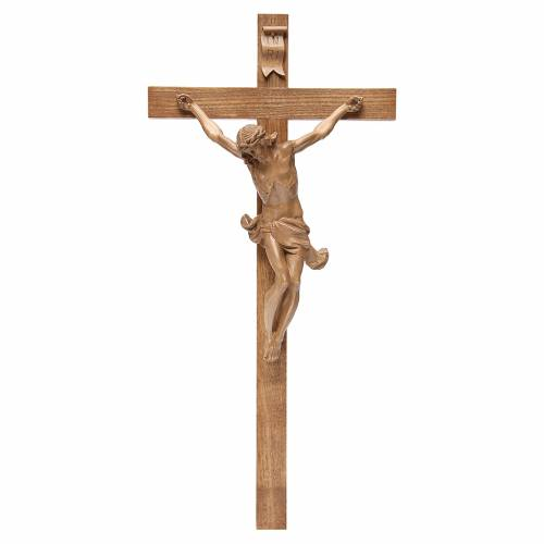 Corpus straight crucifix in patinated Valgardena wood s1