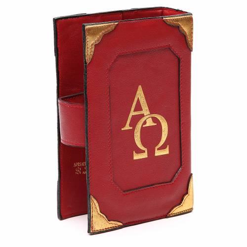 Couverture Lit. Heures 4 vol. cuir rouge Alpha Oméga aimant 3