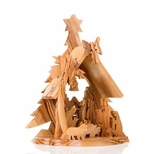 Crèche bois d'olivier étoile s3
