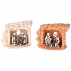 Crèche métal et terre cuite rideau 6 cm s1