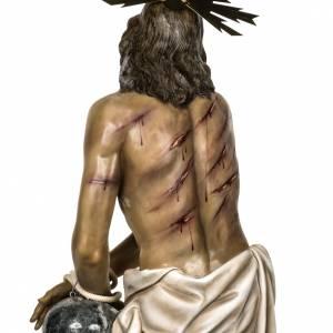 Cristo alla colonna 180 cm pasta di legno dec. anticata s17