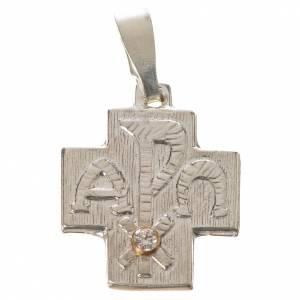Pendenti, croci, spille, catenelle: Croce argento 800 alfa omega con zircone