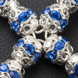 Croce argento e strass azzurro 6 mm s3