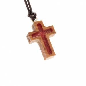 Pendenti croce legno: Croce classica rosso in olivo