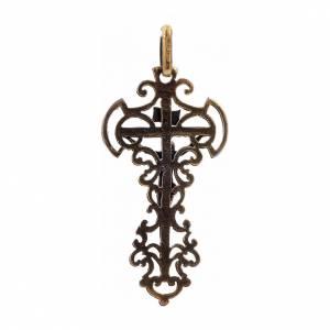 Croce con decorazioni argento 925 bronzato s3