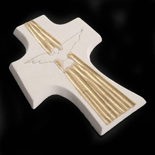 Croce Cresima Spirito Santo argilla bianco oro 15 cm s4