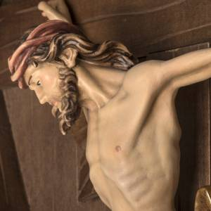 Croce di campagna abete con corpo Cristo Val Gardena s16