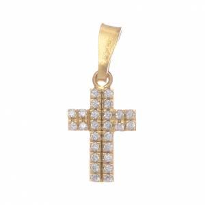 Pendenti, croci, spille, catenelle: Croce dorata con zirconi trasparenti in Argento 925