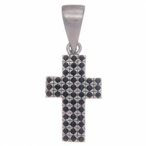 Pendenti, croci, spille, catenelle: Croce in argento 925 con zirconi neri