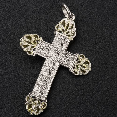 Croce in argento con smalto giallo s3