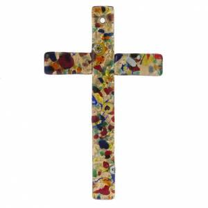 Croce in vetro di Murano foglia oro s1