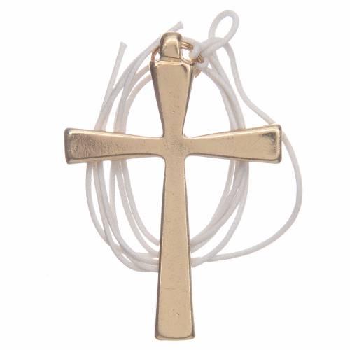 Croce metallo dorato smalto bianco e cordoncino cm 7 s2