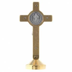 Croce metallo san Benedetto tavolo blu s2