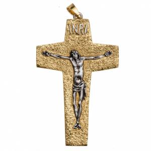 Articoli vescovili: Croce pettorale vescovile ottone bicolore