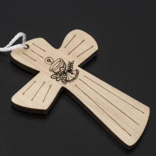 Croce Prima Comunione legno calice ostia 9,8x7,2cm s2