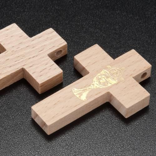 Croce Prima Comunione legno calice s3