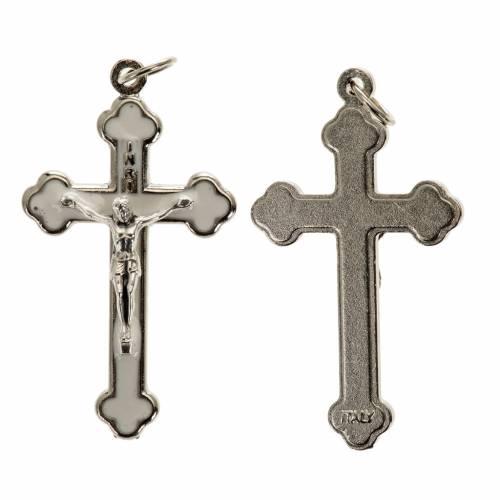Croce rosari fai da te metallo argentato smalto bianco h 3.6 cm s1