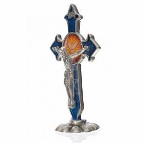 Croce Spirito Santo punte da tavolo 7X4,5 cm zama smalto blu s2