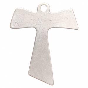 Croce tau Pax et Bonum galvanica argento antico s2