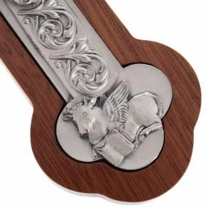 Crocefisso metallo argentato 4 evangelisti croce mogano s5