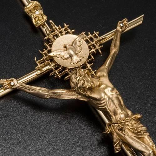 Crocifisso metallo dorato Cristo Padre Spirito Santo s3