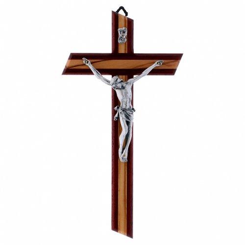 Crocifisso moderno con corpo metallico padouk in legno di olivo 25 cm s1