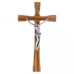 Crocifisso moderno in legno di olivo 25 cm con corpo metallico 10 cm s1