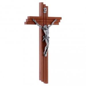 Crocifisso moderno in legno di pero 25 cm con corpo metallico  s2