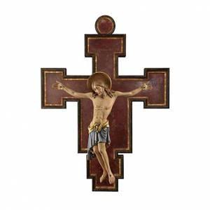 Crocifisso legno dipinto Cimabue 125 cm s1