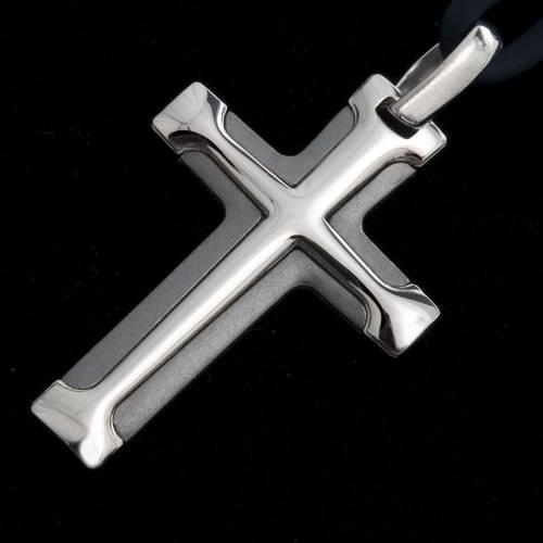 Croix argent 925 bicolore lacet s2
