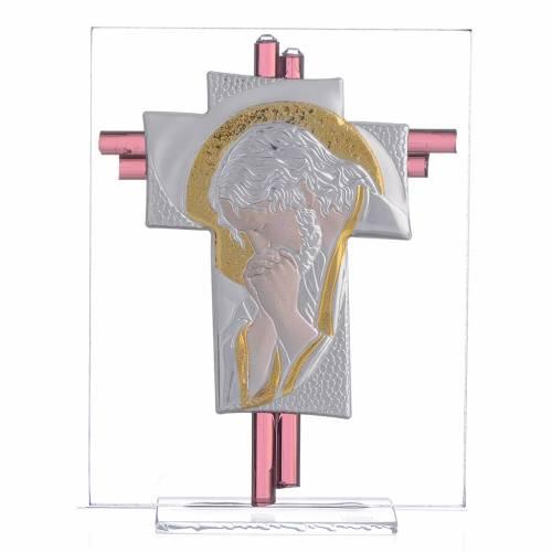 Croix Christ verre Murano lilas et argent h 14,5 cm s1