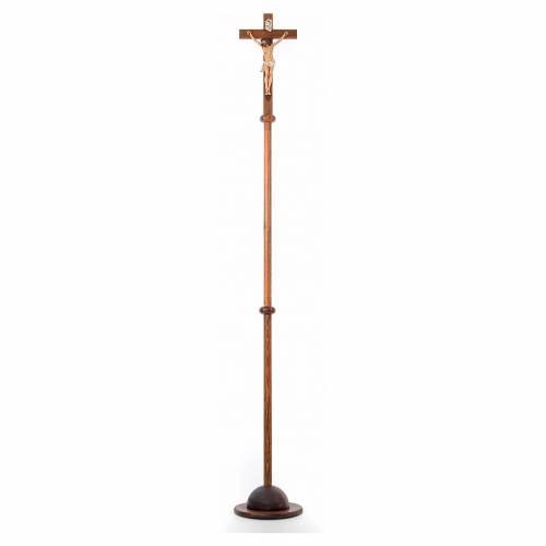 Croix de procession en résine et bois 210cm h Landi s1