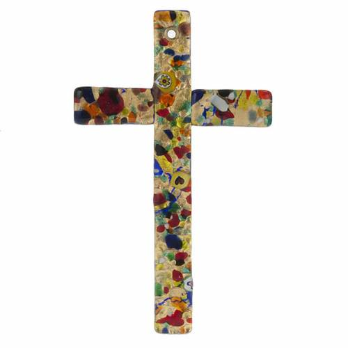Croix en verre de Murano feuilles d'or s1