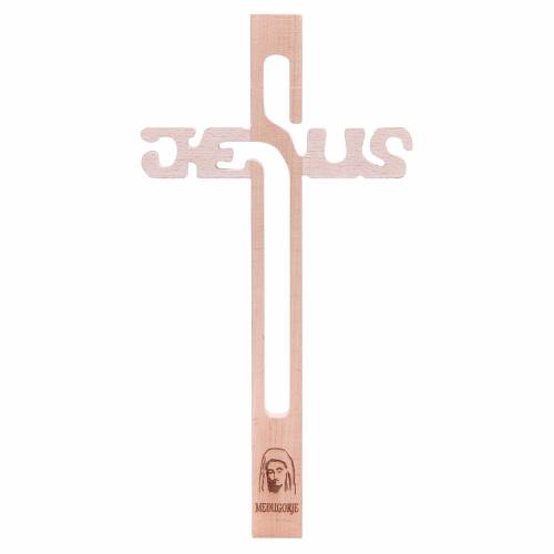 Croix Jésus Medjugorje en hêtre s1