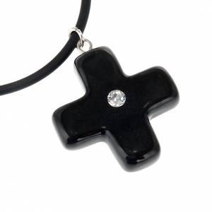 Pendentifs croix céramique: Croix noire avec Swarovski