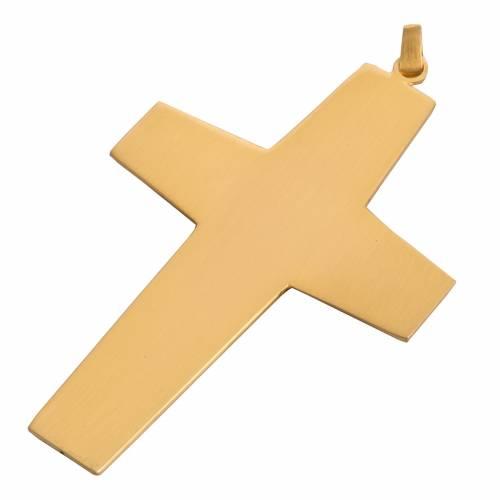 Croix pectorale cuivre doré ciselé pierre bleue s4